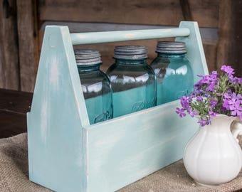 Wooden Tooolbox Tote Farmhouse Style - Aqua Blue Antique
