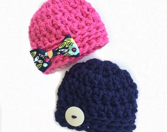 Twin Hat Set for Boy / Girl Twins Blue with Hot Pink / Button and Flower Bow, Coordinating Newborn Baby Gifts, Hats for Photo Props