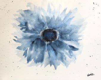 Original watercolor, blue flower, 9x12 on watercolor paper 140lb