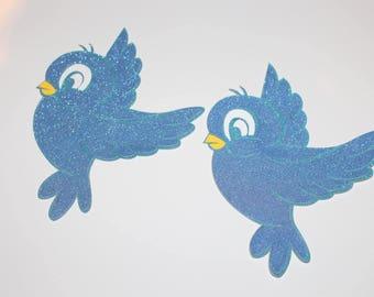 2 Cinderella blue bird die cuts, Cinderella, Snow White, princess birthday theme decorations, disney princess