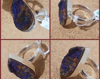 Malachite Druzy Ring SZ 9.5 925 Solid Sterling Silver