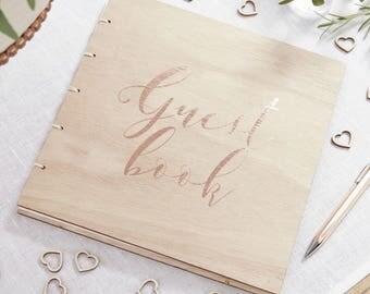 Rose Gold Wooden Guest Book