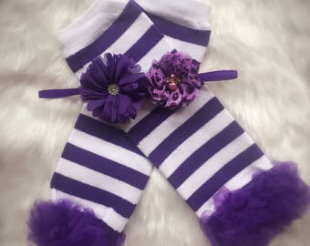 Purple and white leg warmers with matching flower headband/ baby leg warmers
