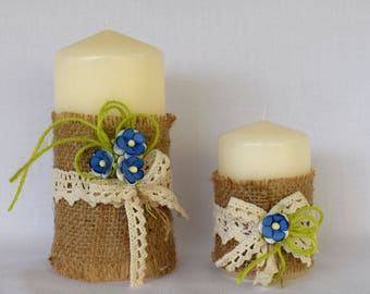 Candles with blue flowers