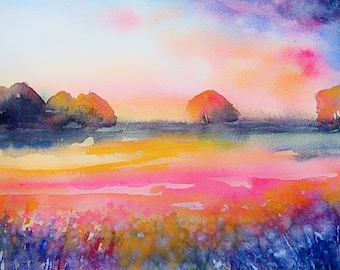 Original Watercolour landscape large 35x45cm