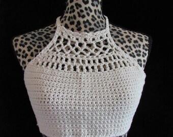 Handmade Crochet Cotton Crop Top | size S/M|