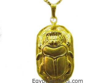 18K Gold Egyptian Scarab Pendant