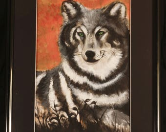 18 by 24 Wolf painting