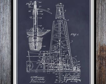 1907 Oil Drilling Rig Patent Print, Oil Rig Art, Wildcatter Art, Oil Industry, Drilling Platform, Petroleum, Roughneck Art, Driller Art