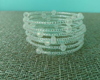 Clear/white seed beads wrap
