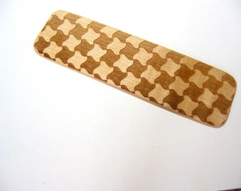 Wooden Bookmark Houndstooth pattern Book lover's gift