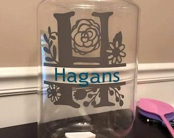 Glass Beverage Dispenser 1.5 gallon white with last name