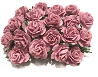 Dusky Pink Open Mulberry Paper Roses Or023
