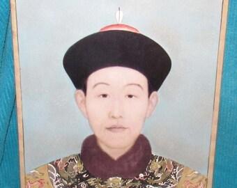 Vintage Fabienne Jouvin Hand Painted Porcelain Wall Plaque Depicting a Chinese Gentleman
