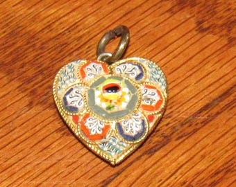 Vintage Micromosaic Heart Pendant/Charm from Italy