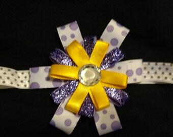 Baby Headband Purple, Yellow, white and gray