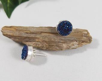 Blue Agate, Druzy, Sterling Silver Earrings, handcrafted earrings, calming earrings, crystal energy, sterling earrings, silver studs,