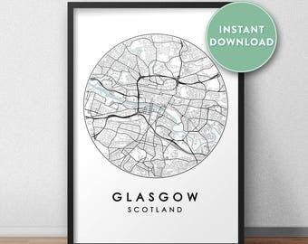 Glasgow City Print Instant Download, Street Map Art, Glasgow Map Print, City Map Wall Art, Glasgow Map, Travel Poster, Scotland,