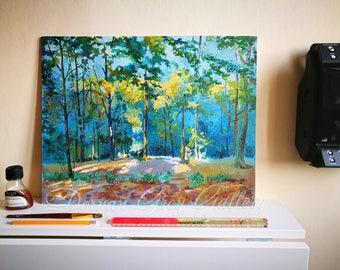 Shy Sunbeams before Sunset, Oil on canvas card-board, Original Artwork, Russian Art