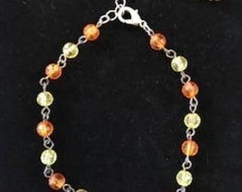 Yellow and Orange unique vintage look small bead bracelet