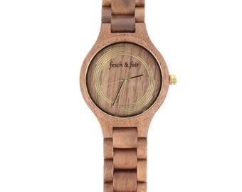 Walnut wood Bracelet Watch with gold dial