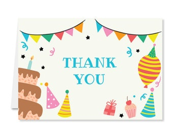 Printed Thank You Cards - Birthday Hats theme