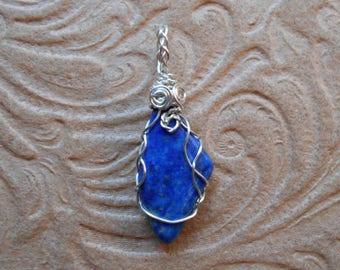 Asymmetrical Lapis Lazuli Wire Wrap Pendant