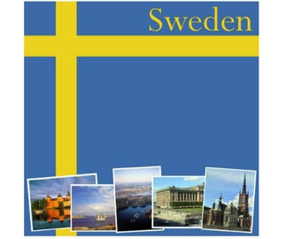 """Sweden Set of 5 Custom Selected 12"""" x 12"""" Scrapbook Papers Swedish Themed Travel Vacation Papers - Our Favorites"""