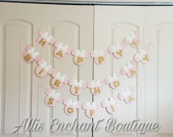Minnie Mouse Pink Banner Happy 1st Birthday banner Name Banner Cardstock banner Light Pink Minnie banner