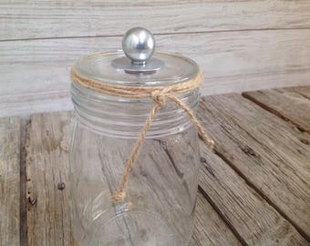 Glass jar with its old button ball alu - ornament shabby - industrial decor - unique gift