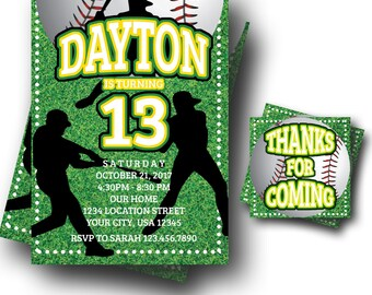 Baseball Invitation - Baseball Party Invitation - Teen Boy Invites - Tween Boy Invites - ANY AGE - Custom Color - Digital Download