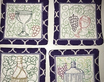 Set of 4 Coasters with wine designs