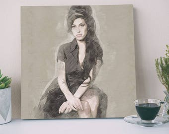 Amy Winehouse Sketch Canvas Design