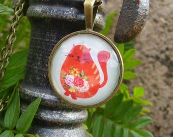 "Necklace ""Machin"" cat motif"