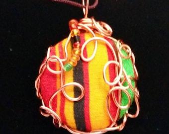 Kente Cloth Button Wire Wrapped Pendant
