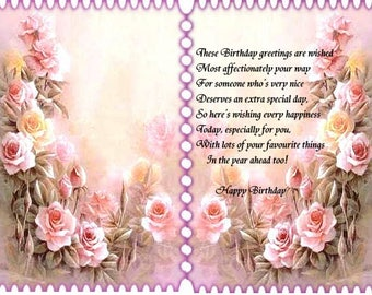 Double Rose Birthday card inserts with verse