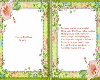 Assoted design Birthday card inserts with verse
