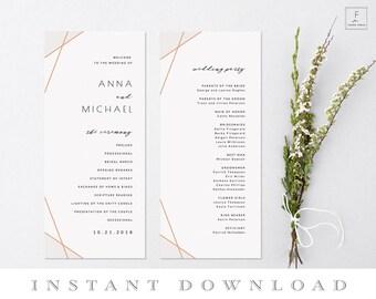 Rose Gold Wedding Program, Template, Order of Service, Program Template, Ceremony Schedule, Ceremony Program, Wedding Program Template #RGS