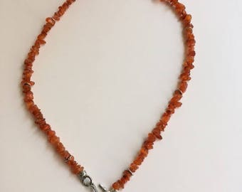 Carnelian Necklace with Sterling Silver Spacer Disk and Clasp - Free U.S. Shipping