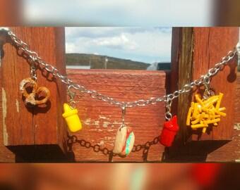 Polymer Clay Hot Dog & Sauces Charm Bracelet