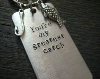 You're My Greatest Catch - romantic Gift for him - personalized keychain - fish and hook keychain - anniversary gift for him