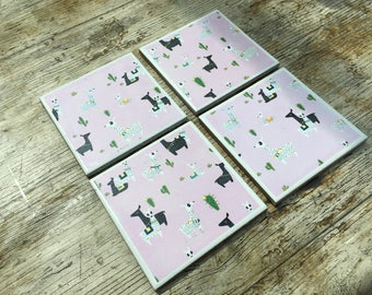 Set of Four Llama Themed Ceramic Coasters