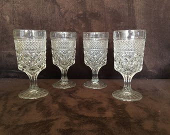 Anchor Hocking Wexford Water Goblets Stemware 8 Oz Set of 4 Clear Glassware USA
