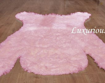 Bear nursery rug, Pink bear, Shaggy rug, Pink rug, Girl nursery rug, Blush Pink Rug, Baby rug, Light Pink Girls Nursery Rug, Girl room decor