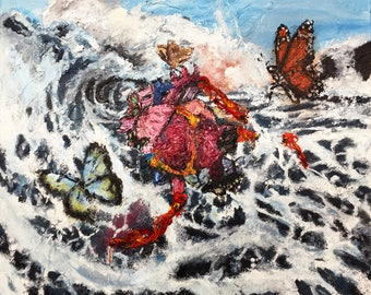 Heart at Sea- Medium Sized Abstract Acrylic Painting