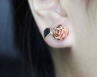 Rose Gold Rose Earring, Copper Rose Earring, Wire Rose Earrings, Stud Earrings, Gift, For Her, Bridesmaid