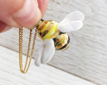 Ceramic Bee Necklace, bumblebee, gold stripes, pendant, classic, cute, buzzing, gift for her, summertime,  18 inch chain, handmade