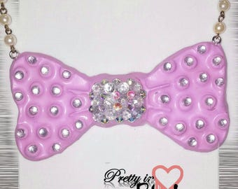 Big pink bow necklace, bow necklace, big bow, bow bib necklace, sparkley bow, sparkley pink rhinestone necklace, bow with gems