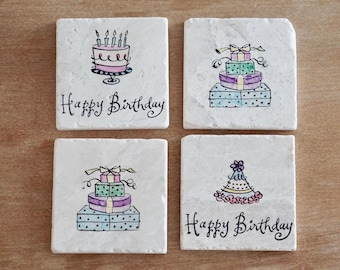 Marble Birthday Coasters// Stamped Tumbled Marble Coasters// Watercolored Coasters// Hand painted Coasters// Birthday Gift- set of 4