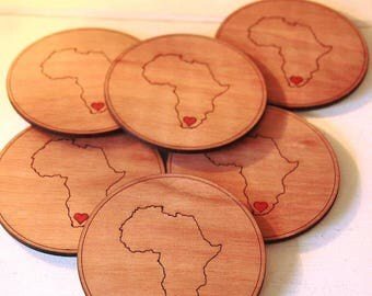 Wooden LOVE Africa/South Africa Coasters